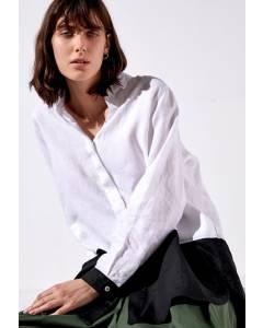 Bluse mit schwarzem Saum