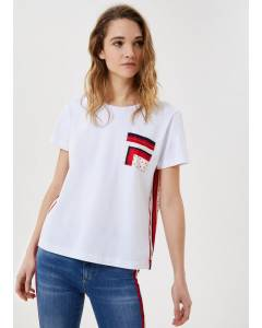 T-Shirt mit bedruckten Einsätzen