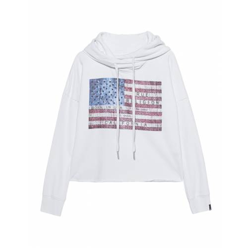 TRUE RELIGION Cropped Hoodie American Flag White