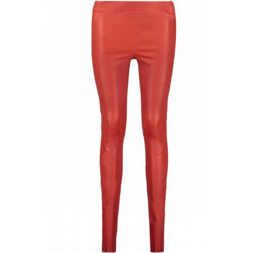 CHATOU Stretch Plonge Skinny Lederhose Red-36